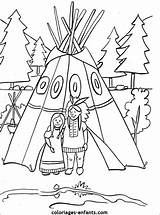 Native Coloring Teepee Colouring Indians Table Thanksgiving Coloriages Indian Pottery Crafts Kid Printable Preschool Enfants Maybe Indiens Chumash Fall Templates sketch template
