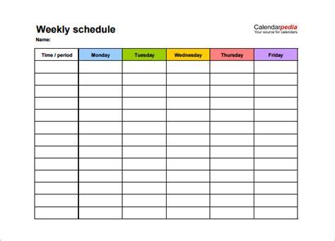 weekly schedule template   word excel