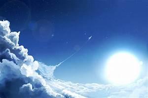 Art, Sky, Sun, Clouds, Airplane, Aircraft, Stars, Moon
