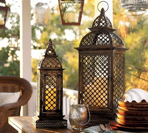 casablanca filigree metal lanterns eclectic