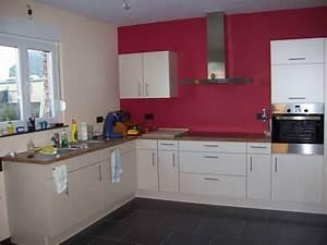 cuisine apres peintures photo 1 2 c39est finalement le With maison grise et blanche 8 cuisine rouge mur couleur chaios