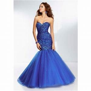 Fitted Mermaid Sweetheart Long Royal Blue Tulle Beaded