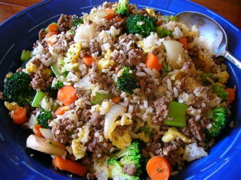 ground beef recipes kittencals ground beef fried rice recipe genius kitchen