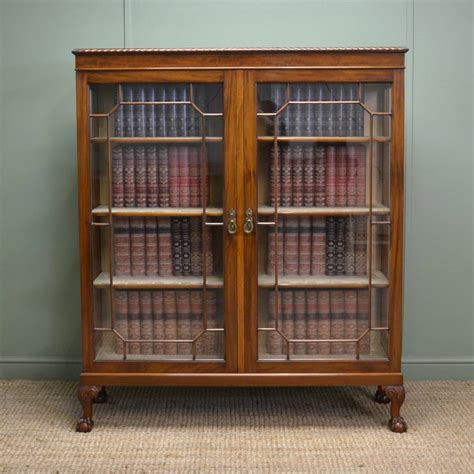 Display Bookcase by Antique Edwardian Walnut Glazed Bookcase Display Cabinet