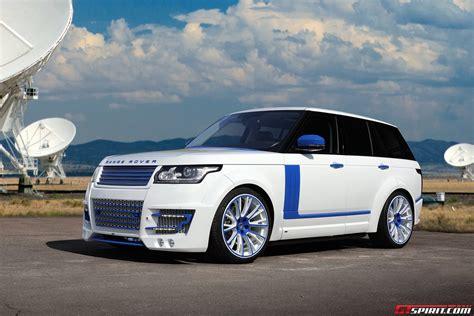 white lumma design range rover vogue clr   blue