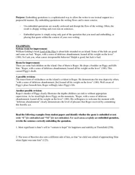 embedded quotes worksheet
