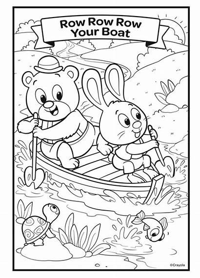 Row Boat Coloring Nursery Rhymes Crayola Colouring