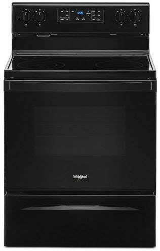 whirlpool  black  standing electric range wfesjb spencers tv appliances