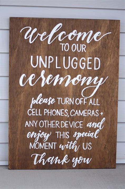 unplugged ceremony wood wedding sign