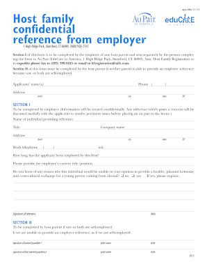 host aupair family employer reference fill