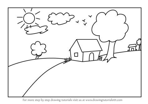 learn   draw  house scenery  kids scenes step