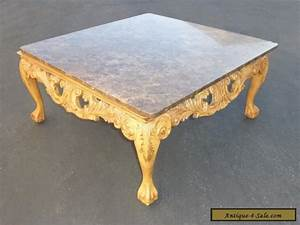 beautiful vintage french ornate carved wood cocktail With antique marble coffee table for sale