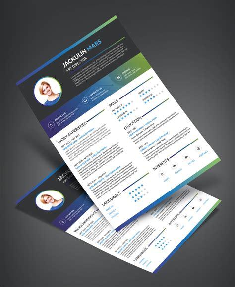 beautiful resume cv design template free psd file