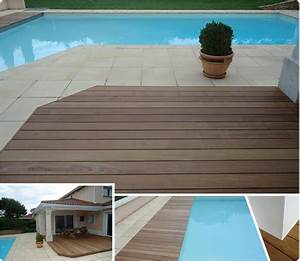 terrasse bois carrelage sol brun foncac effet en sur With terrasse en bois sur carrelage existant