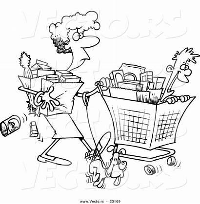 Shopping Cartoon Coloring Clipart Outline Woman Shopper