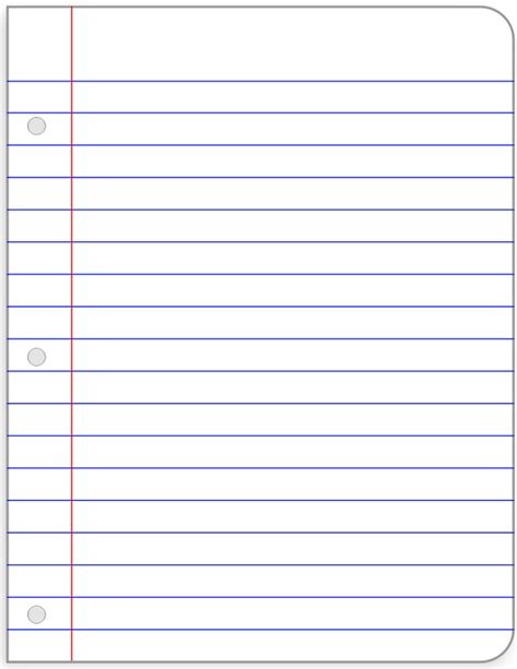 notebook paper template for word notebook paper template clipart best