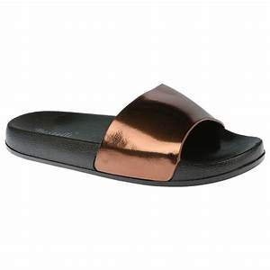 Peggy Womens Flats Slip Ons Metallic Sliders Sandals ...