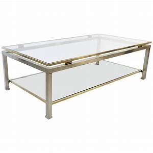 french brass and brushed steel coffee table by guy lefevre With brushed brass coffee table