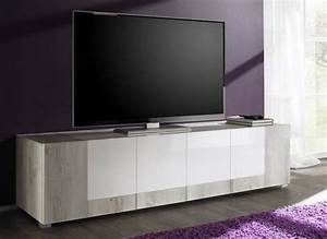 Meuble Tv Hifi : meuble tv hifi pin blanc et blanc laqu marissa ~ Teatrodelosmanantiales.com Idées de Décoration