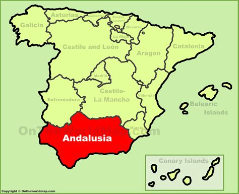 andalusia location   spain map