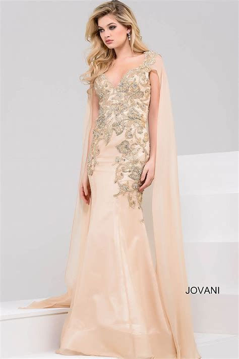 Gorgeous floor length form fitting gold embellished gown ...