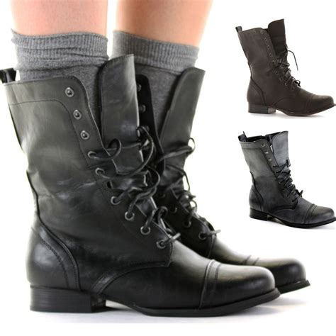 womens biker boots fashion ladies worker army flat lace up biker style military shoes