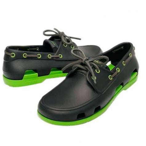 Crocs Boat Shoes Online by Crocs Beach Line Boat Shoe Onyx Volt Green