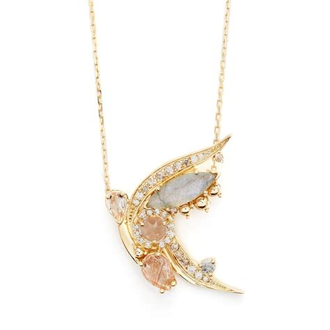 butterfly necklace 18k yellow gold morganite copper