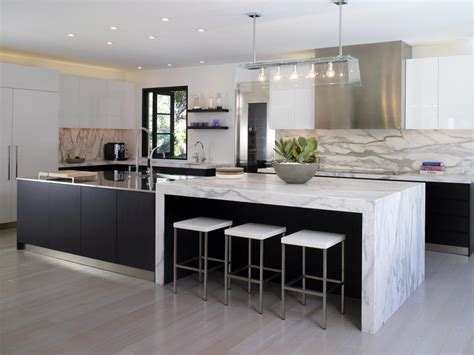 Modern Black And White Kitchen With Marble Countertops Hgtv