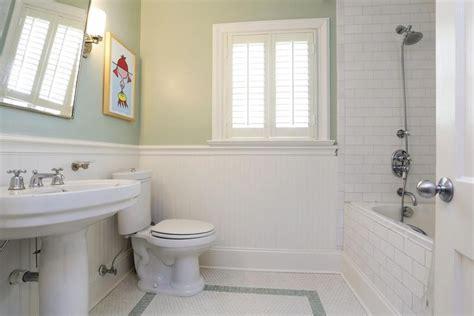 alluring subway tile beadboard bathroom  inspiration