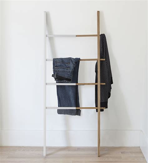 hub towel ladder white  ash wood umbra bathroom