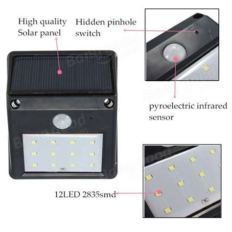 12 led solar powered pir motion sensor light outdoor garden security wall light sale banggood com