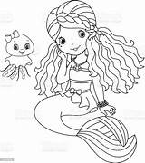 Mermaid Coloring Cute Vector Cartoon Illustration sketch template