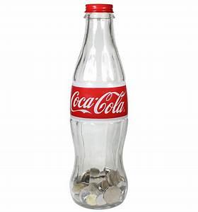 "12"" Glass Coca-Cola Bottle Money Bank With Metal Cap"
