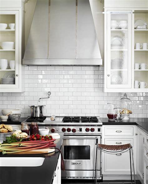 kitchen with subway tiles glossy white subway tile backsplash design ideas 6552