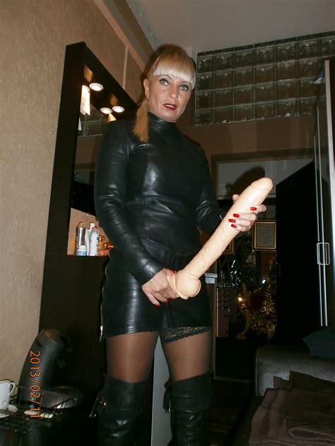 Miss Lady Tina Strapon Leather Mistress Domina Anal