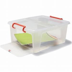 Aufbewahrungsboxen Kunststoff Mit Deckel : staples aufbewahrungsbox aus kunststoff mit deckel stapelbar seiten ffnung transparent 20 l ~ Markanthonyermac.com Haus und Dekorationen