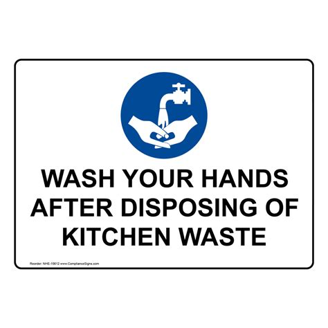 kitchen sink washing aid 9 letters wash your after disposing of kitchen waste sign nhe