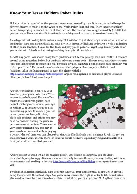 Know Your Texas Holdem Poker Rules