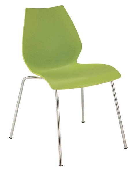 stackable chair plastic seat metal legs green by