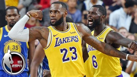 lebron james posts double double  lakers  warriors