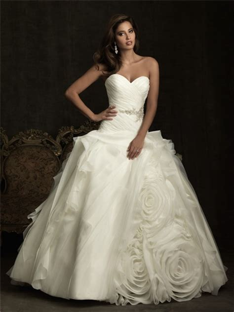 unique ball gown sweetheart layer organza rose flower