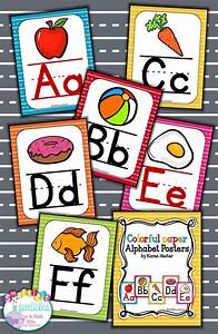 Alphabet posters colorful kindergarten literacy and school for Letter posters for classroom
