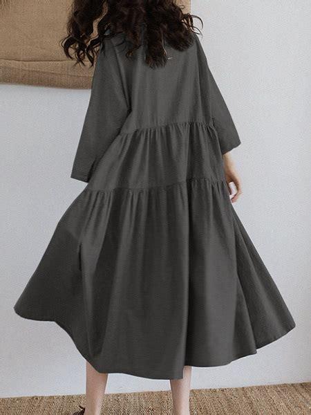 Vintage Women Loose Long Sleeve Flip Button Collar A Line