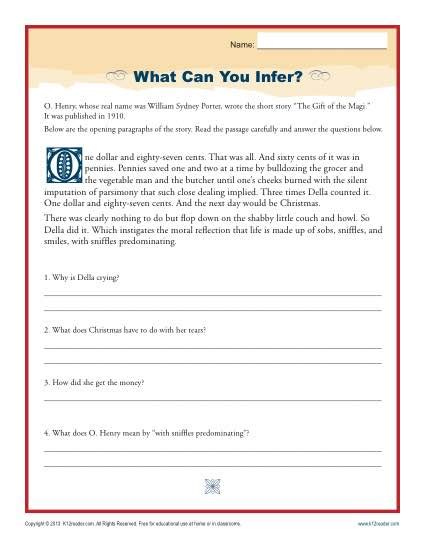 infer high school inference worksheets