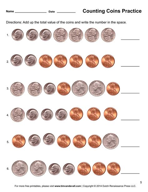 counting coins worksheet  tims printables