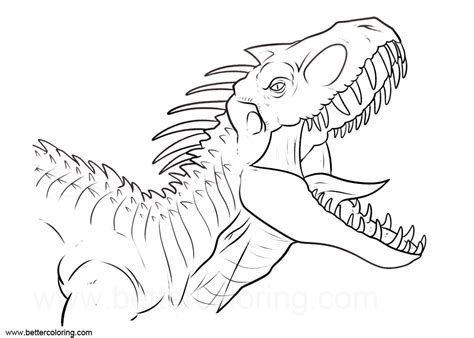Coloring Jurassic World by Indoraptor From Jurassic World Coloring Pages Free