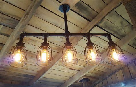 rustic industrial lighting chandelier edison bulb iron pipe