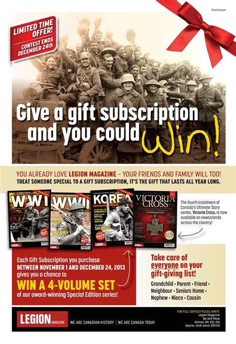 gift a magazine subscription give a gift subscription and you could win legion magazine