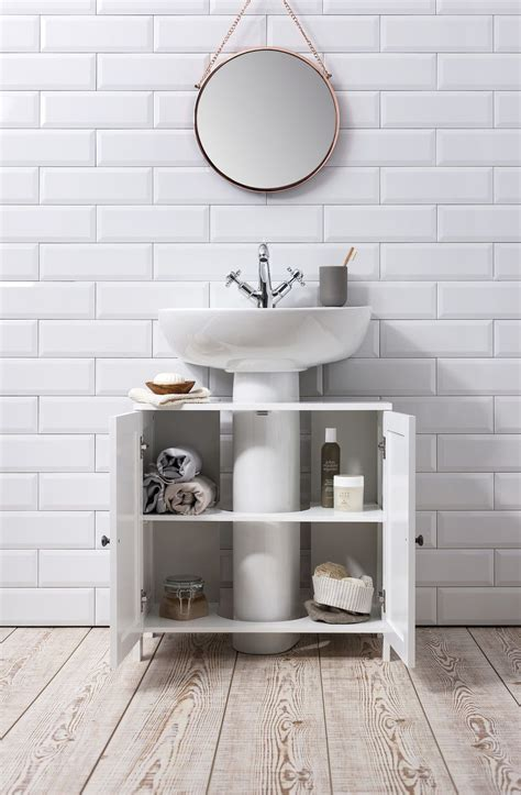 bathroom sink cabinet undersink  white stow